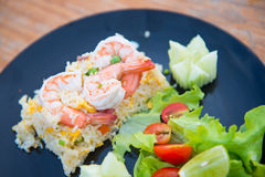Fried rice with shrimp stock images