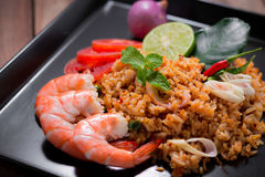 Fried rice with shrimp, tom yum flavor, popular Thai food. Royalty Free Stock Photo