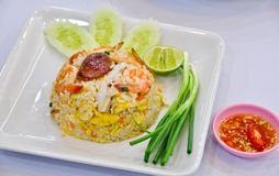 Fried rice with shrimp and vegetable Stock Image