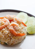 Fried rice with Shrimp. And vegetable Stock Photos
