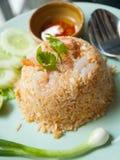 Fried rice with shrimp Stock Photo