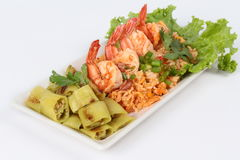 Fried rice with shrimp on white background. side view Stock Image