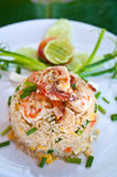 Fried rice with shrimps. On white dish Stock Photography