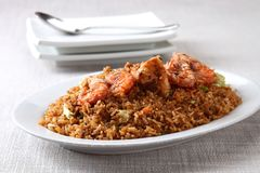 Fried rice with shrimps Stock Photo