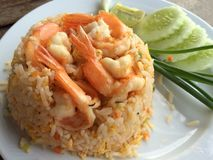 Fried rice with shrimps. Thai food Royalty Free Stock Photos