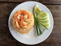 Fried rice with shrimps. Thai food Royalty Free Stock Photography