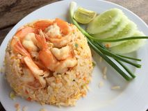Fried rice with shrimps. In Thai food Royalty Free Stock Photography
