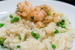 Fried rice with shrimps and vegetables, closeup dish Stock Photography