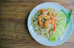 Fried rice with shrimps Stock Photos