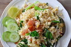 Fried rice with slice Chinese sausage on dish Stock Image