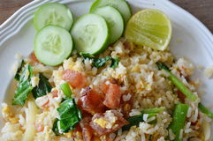 Fried rice with slice Chinese sausage on dish Stock Images