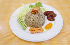 Fried rice with spicy sauce. Is Thai cuisine Royalty Free Stock Image