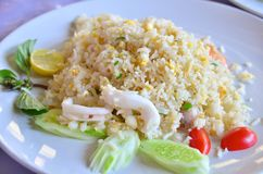 Fried rice with squid Royalty Free Stock Images