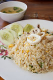Fried rice with squid. And mild soup royalty free stock images