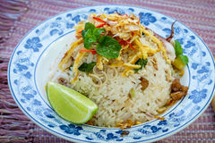 Fried rice with squid Stock Image