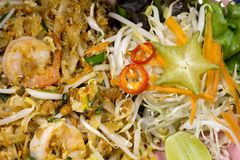 Fried Rice Sticks con gamberetto Fotografie Stock