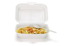 Fried rice in Styrofoam box Royalty Free Stock Photography
