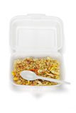 Fried rice in Styrofoam box Royalty Free Stock Photo