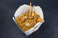 Fried rice take out. Fried rice in a Chinese take out container royalty free stock images