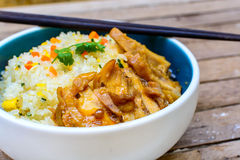 Fried rice with teriyaki chicken Stock Images