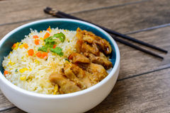 Fried rice with teriyaki chicken Royalty Free Stock Photo
