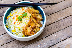Fried rice with teriyaki chicken Stock Photography