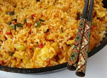 Fried rice. Thai fried rice with basil and chili Stock Images
