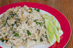 Fried rice thai food on wood backgrounds Stock Image