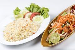 Fried rice and Thai Papaya salad Stock Photo