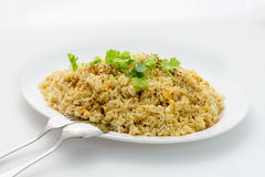 Fried rice thai style. With pork and eggs,Garnishing with Cilantro Royalty Free Stock Images