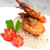 Fried rice with tiger prawns Stock Images
