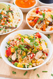 Fried rice with tofu, noodles with vegetables and herbs Royalty Free Stock Photo
