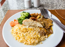 Fried rice topped with chicken and pork Stock Photo