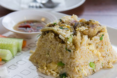 Fried rice with trichogaster pectoralis thai food Royalty Free Stock Photo