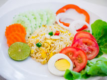 Fried rice with vegetable salad Stock Photos