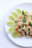 Fried rice with vegetable on the white plate with withe background. Vegetarian Food, healthy food, Thai cuisine.  Stock Photos