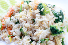 Fried rice with vegetable on the white plate with withe background. Vegetarian Food, healthy food, Thai cuisine Royalty Free Stock Photo