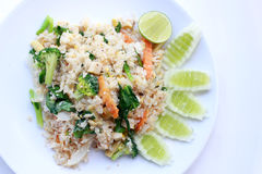 Fried rice with vegetable on the white plate with withe background. Vegetarian Food, healthy food, Thai cuisine Stock Photos