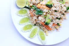 Fried rice with vegetable on the white plate with withe background. Vegetarian Food, healthy food, Thai cuisine.  Royalty Free Stock Photography