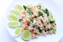 Fried rice with vegetable on the white plate with withe background. Vegetarian Food, healthy food, Thai cuisine.  Royalty Free Stock Photos