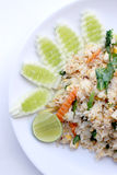 Fried rice with vegetable on the white plate with withe background. Vegetarian Food, healthy food, Thai cuisine Stock Image