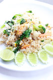 Fried rice with vegetable on the white plate with withe background. Vegetarian Food, healthy food, Thai cuisine Stock Images