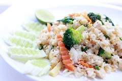 Fried rice with vegetable on the white plate with withe background. Vegetarian Food, healthy food, Thai cuisine.  Stock Photography