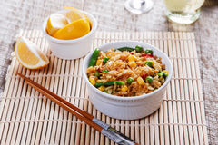 Fried rice with vegetables beans peas corn Royalty Free Stock Image