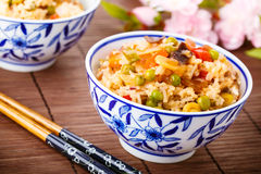 Fried rice with vegetables, eggs and mushrooms Stock Image