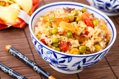 Fried rice with vegetables, eggs and mushrooms Royalty Free Stock ...