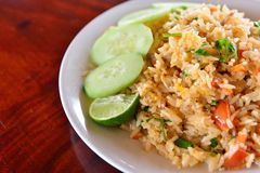 Fried Rice with Vegetables and Meat Stock Image