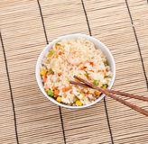 Fried rice with vegetables and prawn Royalty Free Stock Photos