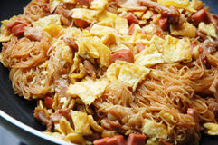 Fried rice vemicelli. Image of fried rice vermicelli with egg and meat Stock Images