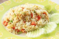 Fried rice on white dish Royalty Free Stock Photo